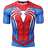 Short Sleeve Spiderman Compression Shirts for Men 3D Printed Tee (Large, Red)