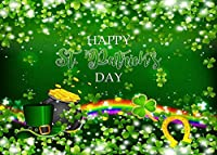 ZPC聖パトリックの日の背景レプラコーングリーンハットゴールドコインジャーとレインボーホリデーパーティーバナー誕生日春ビニール写真背景写真撮影スタジオ小道具7X5FT