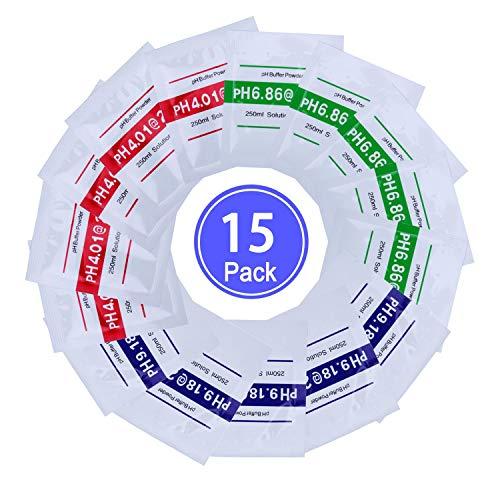 Nynel 15pcs pH Test Meter Mesure lot Solution tampon de mesure de la poudre tampon pH Point d'étalonnage Regard Pour pH Mètre Étalonnage Rapide et Précis du pH de Pureté d'Eau,4.01 6.86 9.18