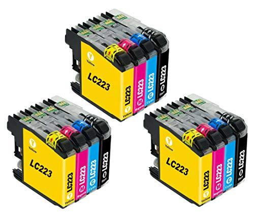 Bergsan 12 Cartucho de Tinta Compatible para Brother LC223 para MFC-J5320DW DCP-J4120DW MFC-J480DW MFC-J5720DW MFC-J5625DW MFC-J4620DW MFC-J4420DW MFC-J880DW MFC-J4625DW DCP-J562DW MFC-J680DW