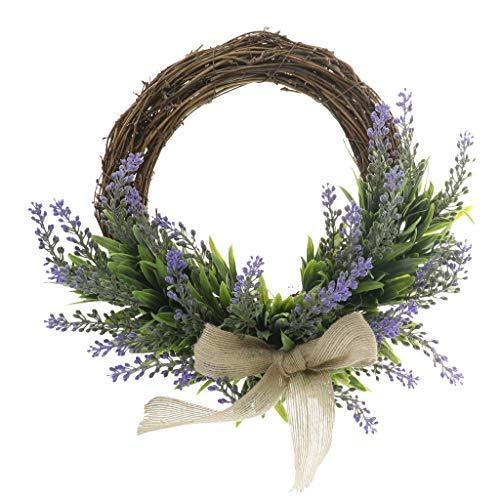 FLAMEER Europäischer Stil Lavendel Kranz Türkranz Wandkranz Dekokranz für Wohnkultur und Foto Requisiten