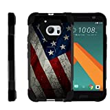 TurtleArmor   Compatible with HTC 10 Case   One M10 Case   HTC 10 Lifestyle [Dynamic Shell] Hybrid Dual Layer Hard Shell Cover Kickstand Silicone Case - American Flag