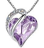 Leafael Infinity Love Heart Pendant Necklace Alexandrite Light Purple June Birthstone Crystal Jewelry Gifts for Women, Silver-Tone, 18'+2'