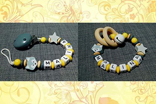 Schnullerkette & Greifling im Set mit Namen für Mädchen und Jungs in gelb-grau-natur-Geschenk zur Geburt/Taufe- Schnullerketten Set