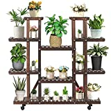 Natural Wood Plant Stand with Wheel Indoor Outdoor- Multi Tier Wooden Carbonized 11-13 Potted Flower Shelves Stands with Wheels Plant Display Rack Holder Organizer in Corner Balcony Patio Yard