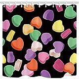 mintlmk Valentinstag Duschvorhänge für Badezimmer Bunte Herzen Süßigkeiten in schwarzem Polyestergewebe Wasserdichter Badvorhang Duschvorhang Haken enthalten 71X71in