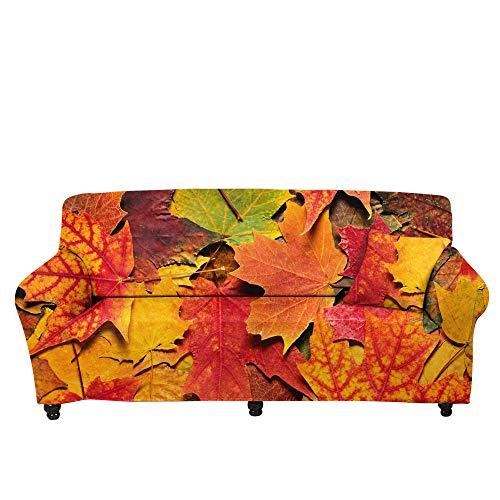 HXTSWGS Fundas de Sofa Cubierta de Sofa,Funda de sofá con Estampado de Hojas caídas en 3D, Toalla de sofá de trébol, Funda de sofá de Sala de Estar con Todo Incluido-Color3_145-185cm