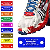 Waterproof Shoe ID Tag Personalized Impact Acrylic - in Case of Emergency Identification for Runners, Cyclists, Athletes, Travelers, Fitness, and Children (Blue/Yellow)