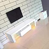 GOTOTP Mueble de Televisión Moderno con Unidad de Entretenimiento de Soporte de TV LED de Brillo Blanco Mate