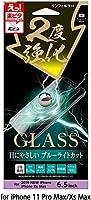 楽ピタ 2度強化ガラスフィルム 硬度9H 端割れ防止 画面鮮明 飛散防止 iPhone11 Pro Max iPhone XsMax対応 ブルーライトカットタイプ i33CGLBLW