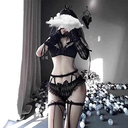 Cloudy Sexy Mujeres Novia Cosplay Uniforme Bridal lencería Kid Encaje Lindo Bikini Anime Dama Trajes Vestido de Novia Braga