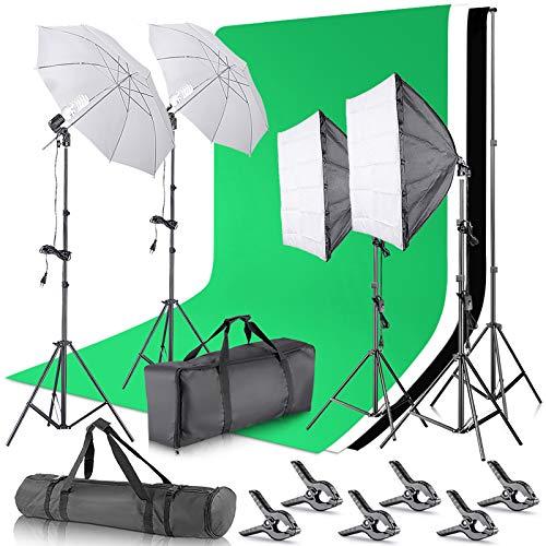 Neewer [Versión Básica] Kit de Iluminación de Fondo de Fotografía 2,6Mx3M Sistema de Soporte de Fondo 800W 5500K Sombrillas Softbox Iluminación Continua para Fotografía de Retratos y Videos
