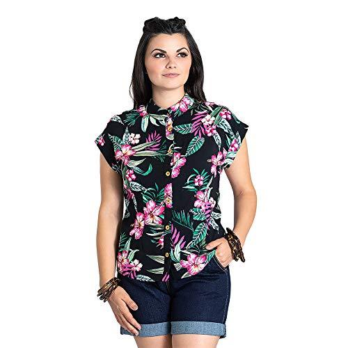 Hell Bunny Camisa Hawaiana con Estampado Floral Kalani - Negro S