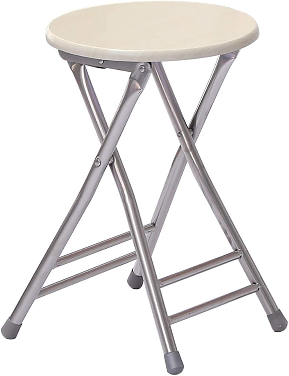 FW Folding Stool, Casual Home Round Stool Storage Convenient Table Stool shoes Bench, 3 colors Optional (color   White, Size   Two)