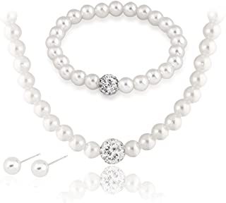Silver Plated Jewelry Sets White Faux Pearl Necklace Earrings Bracelet for Brides