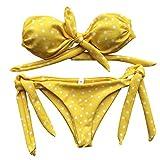 PinkLu Bikini Dividido con Estampado De Lunares Mujer Sexy Punto Impreso Bikini Conjunto Empuja hacia Arriba Acolchado Arco Traje De BañO Traje De BañO Ropa De Playa
