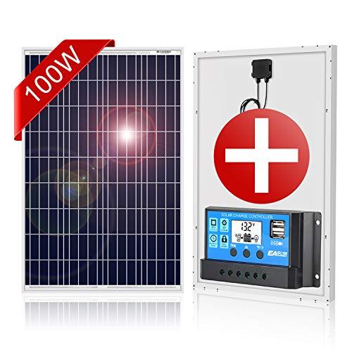 DOKIO Polykristallines Solarmodul 100w 12v mit Laderegler ( 2x USB-Port) für Wohnmobil, Camping, Gartenhaus