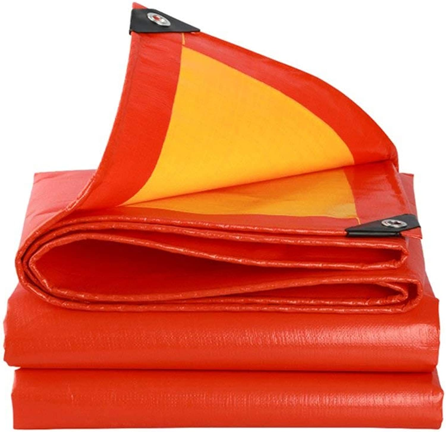2BRNEBN Tarpaulins Polyethylene Powerful Waterproof Sun Predection Used in Poncho Family Camping Garden Outdoors has Predective Layer,Thickness 0.38mm,210g m2, orange + Yellow, 1