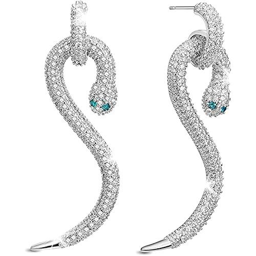Quanshijie 925 Diamante de Plata esterlina Sra. Pendientes S Snake Pendientes
