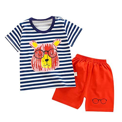 LEXUPE Kleinkind Baby Kinder Mädchen Jungen Cartoon Print Tops Streifen Shorts Pyjamas Casual Set(Blau,130)