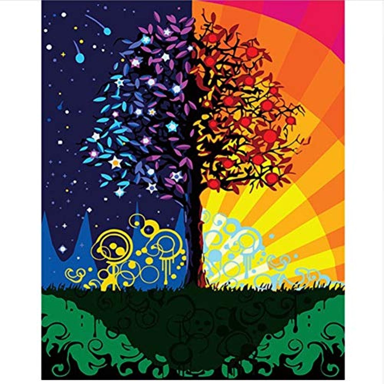 CZYYOU DIY Digital Painting by Numbers Tag Und Nacht Baum Ölgemälde Wandbild Kits Farbeing Wandkunst Bild Geschenk 40x50cm-Ohne Rahmen B07PFVGWC9   Üppiges Design