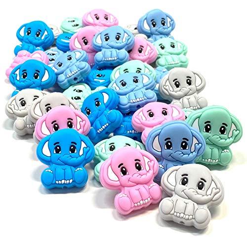BABY J ART perle, palline dentizione, scelta figure in silicone materiale fai da te per portaciuccio, massaggiagengive e dentizione, 10 pz (Elefante)