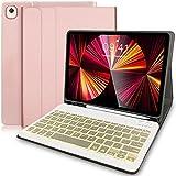 custodia tastiera per ipad 10,2 2020/2019(8a e 7a gen)/ipad air 3 /ipad pro 10,5 –custodia con supporto per apple pencil, tastiera con 7 colori retroilluminati staccabile per ipad 10,2(oro rosa)