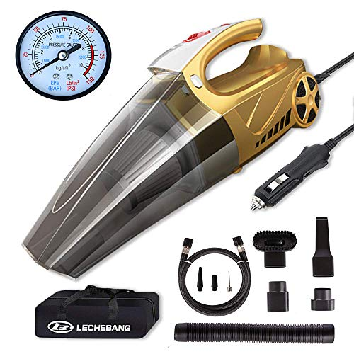 LB LECHEBANG 4 in 1 Air Pump Car Cleaner Hand Held Wet Dry DC 12V High Power Vacuum with Digital Tire Inflator and LED for Lighting-HEPA Filter  (Gold) (Pointer Meter)