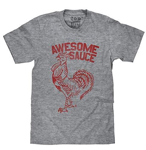 Klassieke Sriracha Geweldige Saus Haan Logo Tee Shirt mannen ronde hals Korte mouwen Katoen T-Shirt in Grijs Hot Chili Saus Hipster Fles Haan Foodie Tee