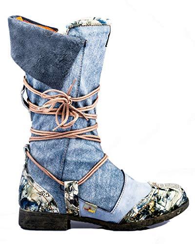 TMA 5561 Damen Stiefel Leder gefüttert blau - EUR 40