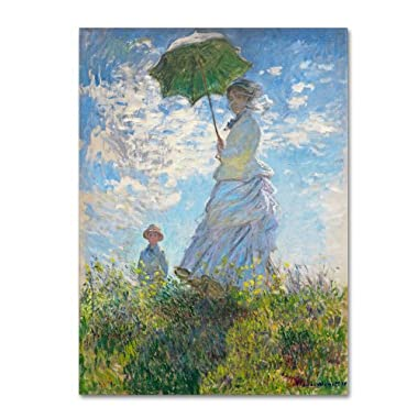Trademark Fine Art Woman with a Parasol 1875 Artwork by Claude Monet, 35 by 47-Inch Canvas Wall Art