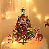 Fly YUTING Árbol de Navidad de Mesa de 24'/ 60Cm, Mini árbol de Pino de Navidad Artificial con Luces LED y Adornos