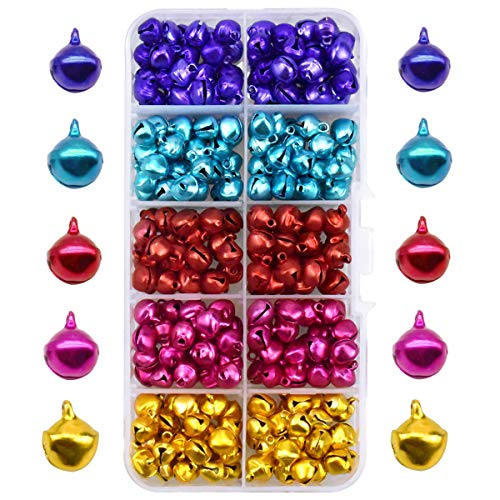 300 Pezzi Campanellini, Sonagli Piccoli Campanelle, Campanelli di Metallo per DIY, Fai da Te, Colorati Campanellini Natalizi per la Decorazione di Natale, Creazione di Gioielli, 8mm