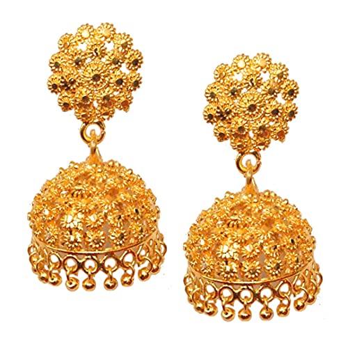 Pahal - Pendientes de jhumka chapados en oro, diseño floral de Bollywood de la India del sur