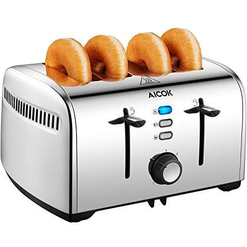 Aicok Toaster, 4-Slice Toaster with 7 Browning Control, Defrost/Bagel/Cancel Function, Extra Wide...