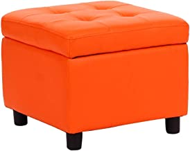 Faux Leather Multifunction Storage Box Stools with 4 Wooden Legs Anti-Slip Mats, Super Soft Upholstered Cushion Bedroom & ...