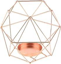 HOMYL Copper 3D Geometric Iron Wire Candle Holder Candlestick Wedding Holidays Birthdays Christmas Halloween - Rose Gold