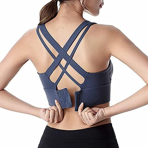 HHRE Cross Beauty Back Sujetador deportivo con tirantes cruzados para yoga, sujetador deportivo Push Up Bralette Soporte para entrenamiento (azul, M)