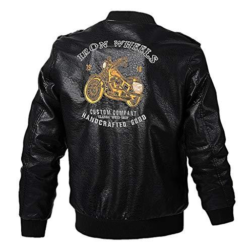 SHE.White Herren Vintage Oversize Jacke Herbst Winter Übergangsjacke Biker Lederjacke Echtleder Kunstleder Herrenjacke mit Biker Muster Leder Mäntel Outwear