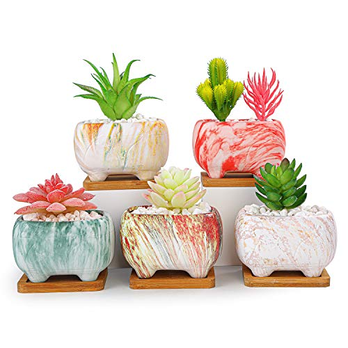 ARTKETTY 4.7' Rectangular Succulent Cactus Planter with Drainage Hole and Bamboo Trays Modern Ceramic Flower Plant Bonsai Pot for Windowsill, Office, Home/Garden Decor (Set of 5)