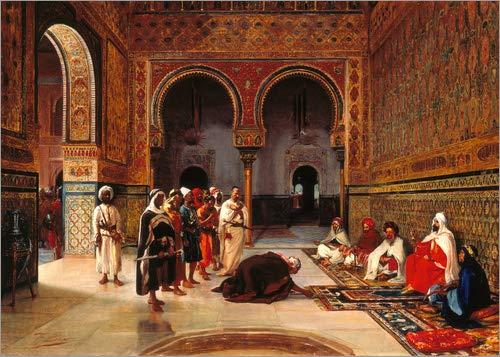 Leinwandbild 90 x 70 cm: Treueschwur in der Halle Abencerrajas in der Alhambra von Granada. 1879 von Filippo Baratti/ARTOTHEK - fertiges Wandbild, Bild auf Keilrahmen, Fertigbild auf echter Leinw.