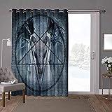 YUAZHOQI Cortinas opacas térmicas aisladas para patio, casa de terror, diablo sueño de miedo, 100 x 96 pulgadas de ancho cortinas de puerta de cristal para ventana (1 panel)