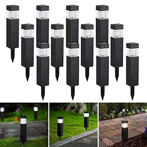 Aigostar - 12 x Lámpara LED para exterior, Luz solar exterior, resistente al agua IP44, Luz Fría 6500K. Luces solares para exterior jardin, recomendado para patio césped pasillo terraza sin Cables