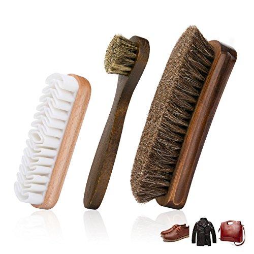 Foloda Brosse à Chaussures avec Poils de Crin de Cheval 100%, Kit de Brosses à Chaussures de 3 Pièces, Brosse à Chaussures en Daim pour Chaussures, Cuir, Botte