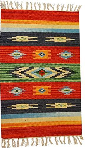 Tappeto Stuoia Passatoia 100% Cotone Kilim Indiano Etnico 6 Disegni 10 Misure ch (Disegno C, 40x60)