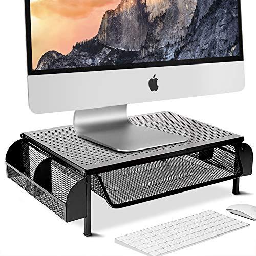TECHVIDA Soporte de Exhibición de Metal, Mesa de Ordenador con Cajones de Almacenamiento, Adecuado para Monitores de Computadora y...