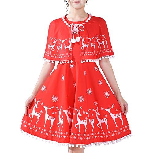 Sunny Fashion Vestito Bambina Renna Rosso Mantello del Capo Natale Anno 12 Anni
