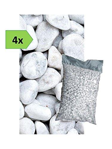Metroquadrocasa 4 Sacchi da 25kg ciottoli di marmo Bianco Carrara 40/60 mm sassi pietre giardino