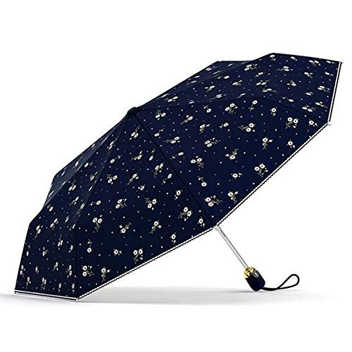 Reise Regenschirm Automatische Sonnenschutz Anti UV Blumen Regenschirm-Regen Frauen Parasol Weibliche Folding Umbrella Windundurchlässig Frauen Regenschirme (Farbe : Navy)