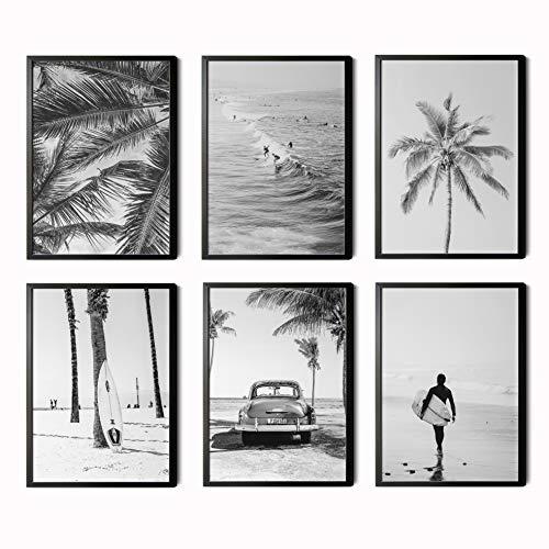 Láminas Decorativas para salón, Comedor, habitación, Dormitorio, Pasillo. Set de 6 Posters Modernos en Blanco y Negro tamaño DIN A4. Sin Marco.
